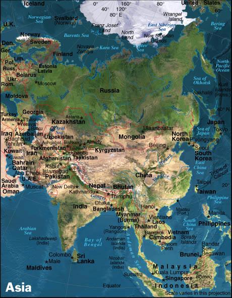 Asien Oversigtskort